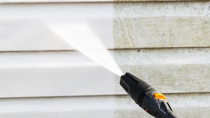 Soft Pressure Washing a house